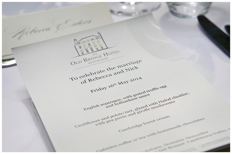 Boutique Hotel Old Bridge Hotel wedding menu