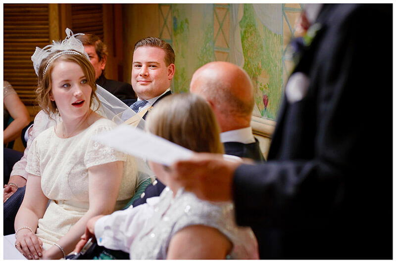 look of surprise on brides face during speeches