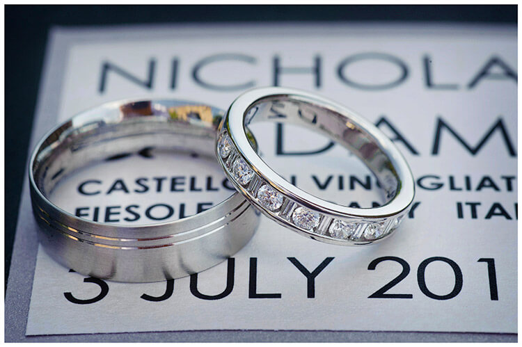 Castello di Vincigliata wedding bands sat on order of service