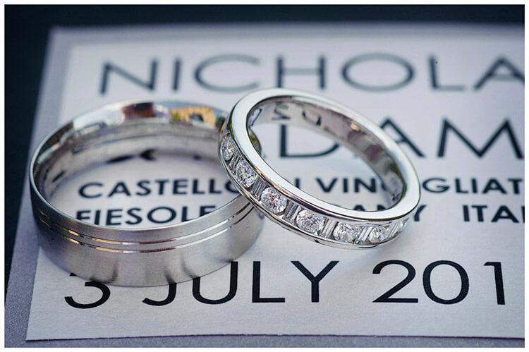 Castello di Vincigliata wedding bands sat on order of service