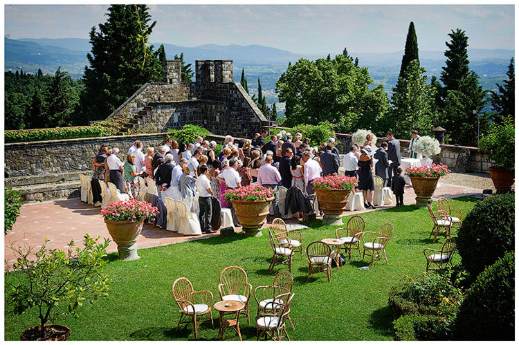 Castello di Vincigliata wedding what a view during ceremony