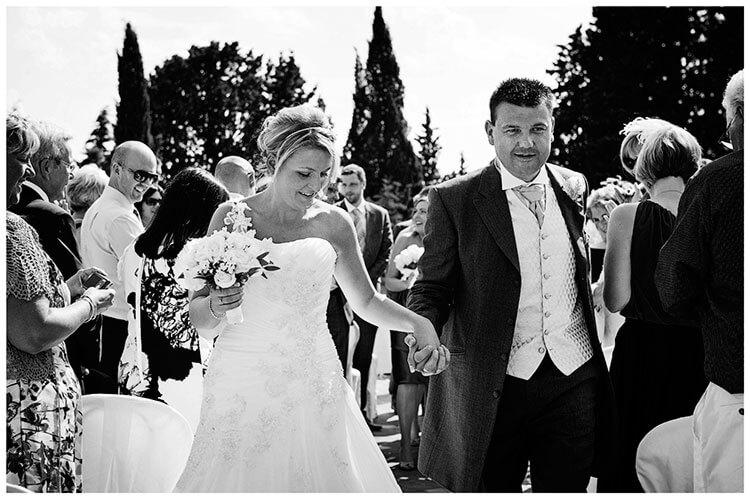 Castello di Vincigliata wedding bride groom walking down aisle