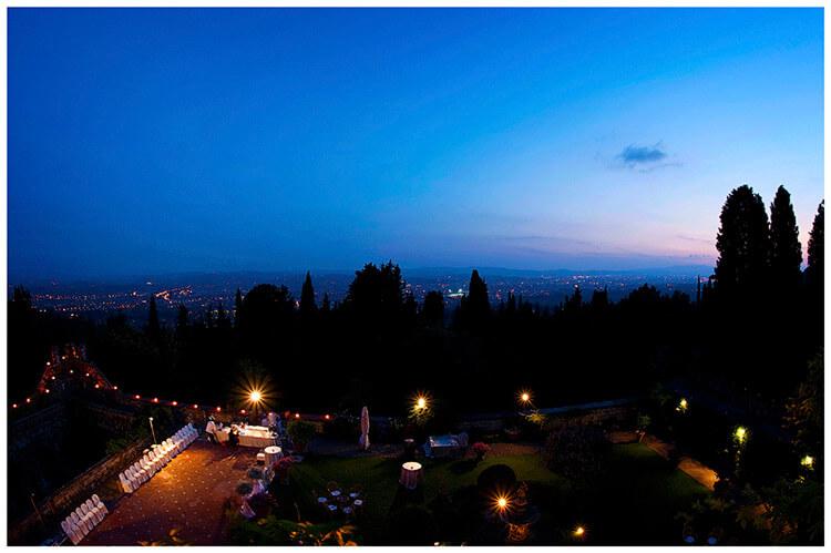 Castello di Vincigliata wedding view of Florence city at night