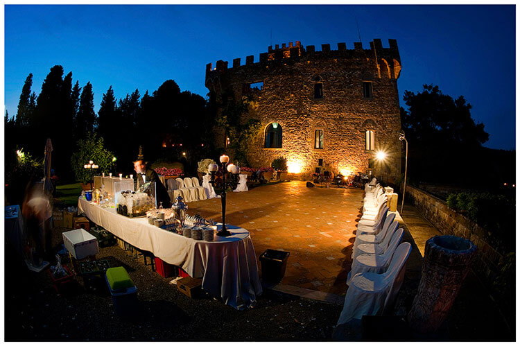 Castello di Vincigliata wedding at night