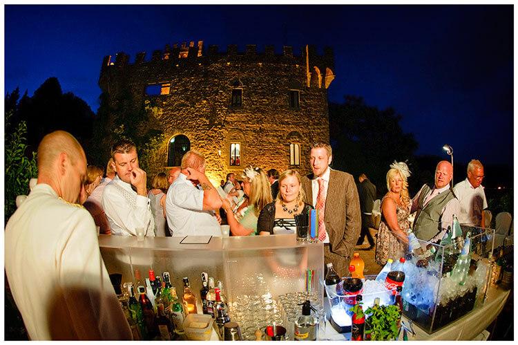Castello di Vincigliata wedding guests waiting at the bar