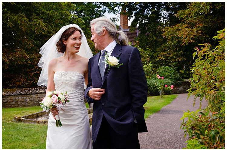 Childerley Hall Summer Wedding bride and father