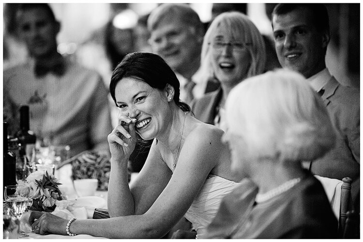 Childerley Hall Summer Wedding bride laughing during speeches