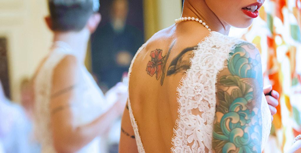 Creative Cambridge Wedding Photographer Bride blue tattoo red lips reflected in mirror