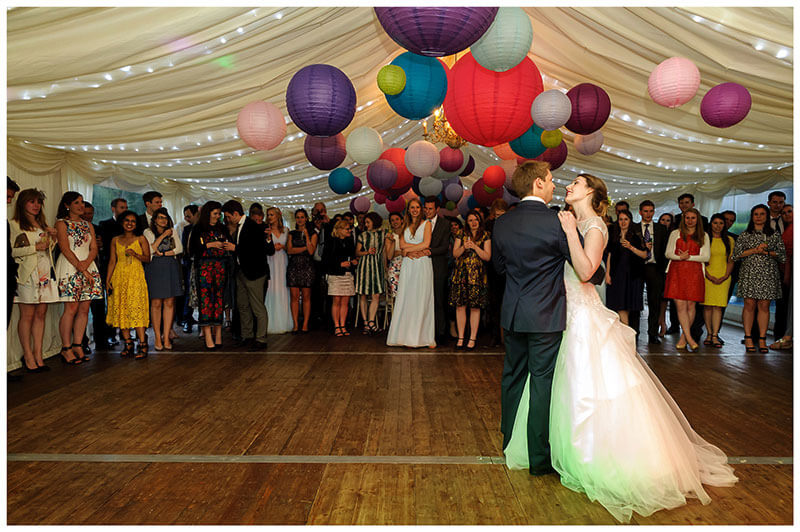 Friars Court Wedding Venue Oxfordshire bride groom first dance in marquee