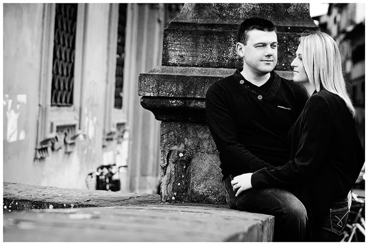 Pre-Wedding Photography in Florence couple share an intimate moment