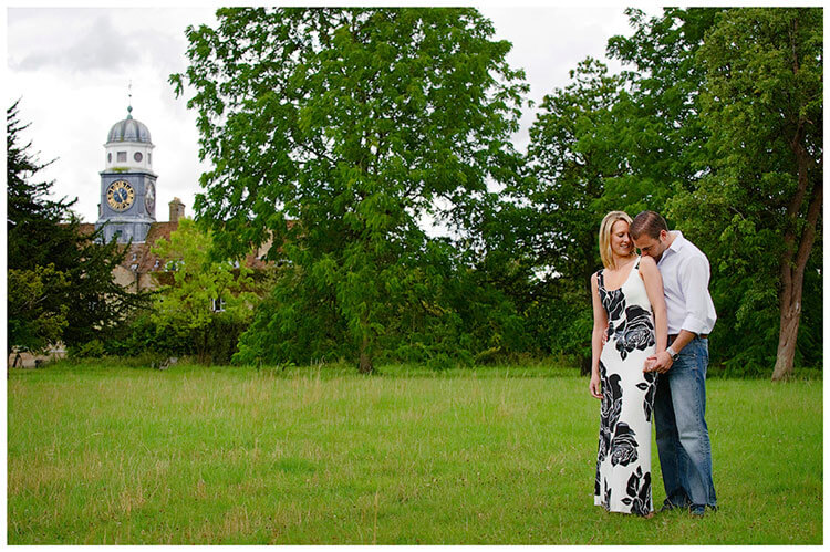 Pre-Wedding Photography shoot in Cambridgeshire kiss on shoulder