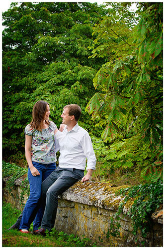 Pre-Wedding Shoot Leighton Bromswold couple standing sitting low stone wall