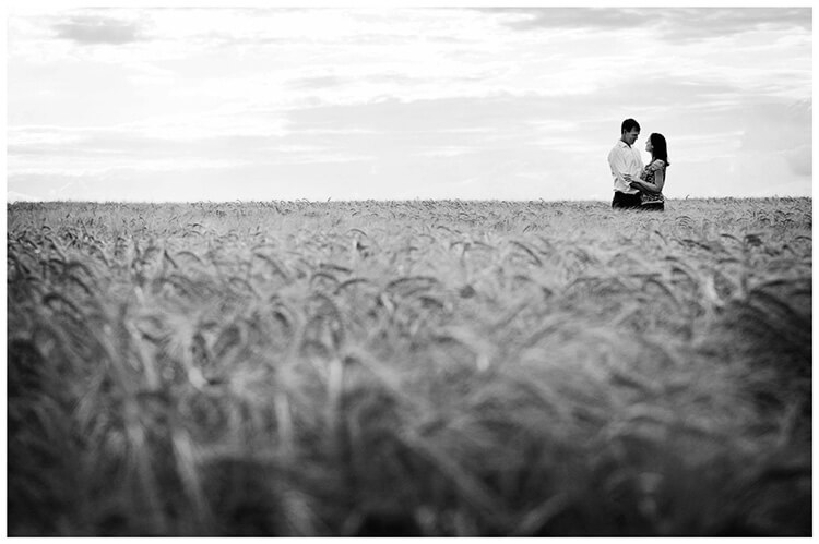 Pre-Wedding Shoot Leighton Bromswold happy couple embrace in barley field