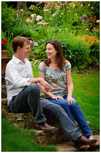 Pre-Wedding Shoot Leighton Bromswold happy couple sitting on steps