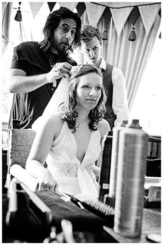 vintage Style Wedding Cambridgeshire bride having her hair styled