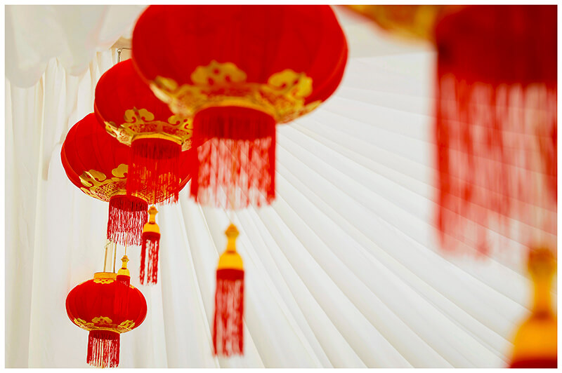 row red lanterns in the marquee