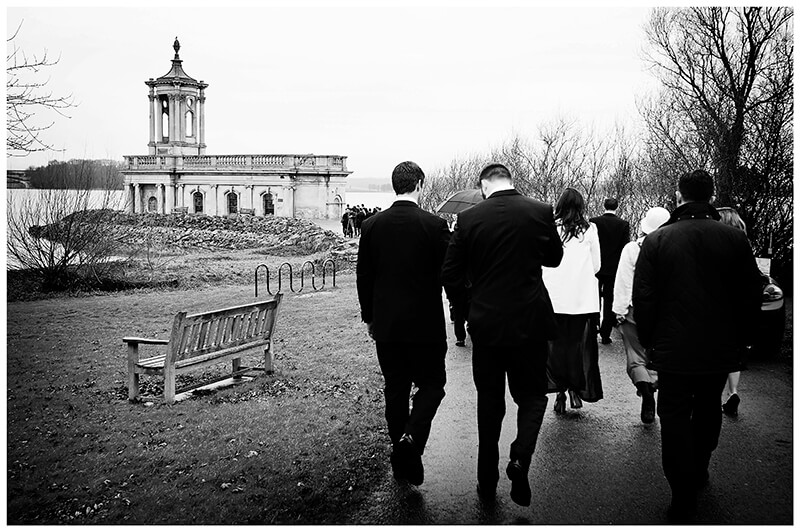 guests walking towards Normanton Church