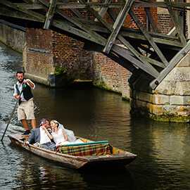 Cambridge Trinity College Wedding bride groom go punting