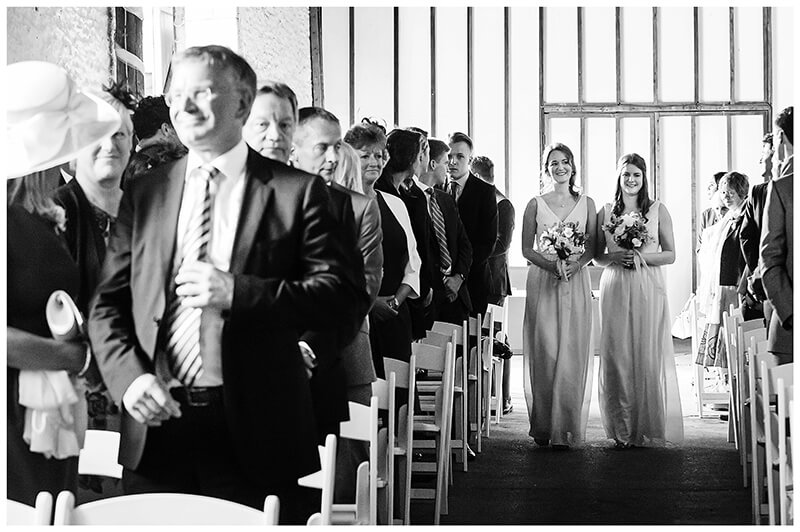 Oxfordshire friars Court Wedding bridesmaids walk down aisle to groom