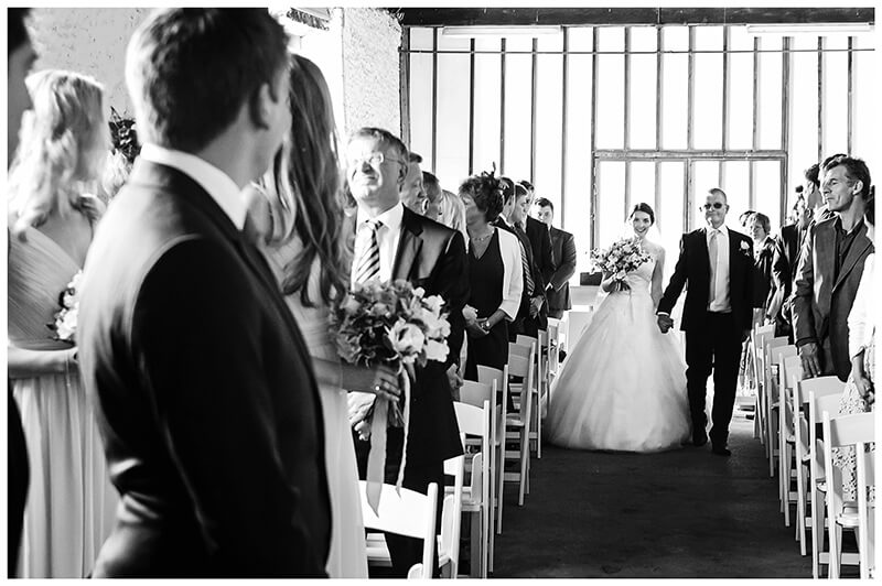 Oxfordshire friars Court Wedding bride starts to walk down aisle on fathers arm