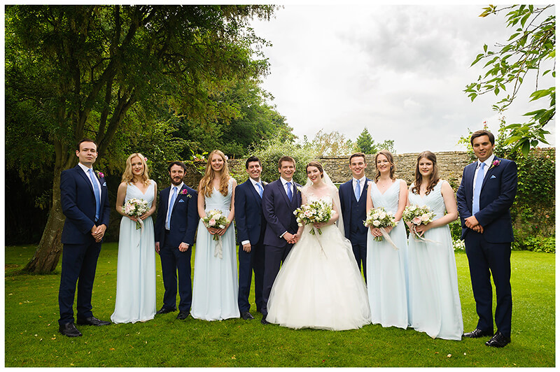 Oxfordshire friars Court Wedding bride groom and bridal party