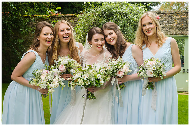 Oxfordshire friars Court Wedding bride with bridesmaids