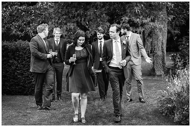 Oxfordshire friars Court Wedding guests walking in gardens
