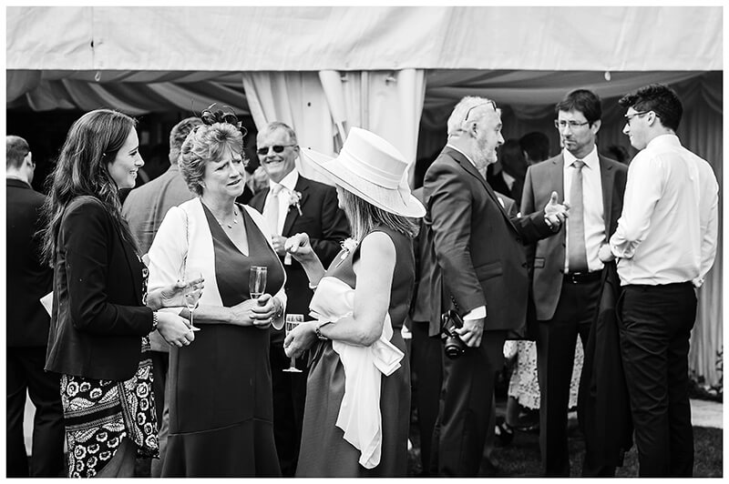 Oxfordshire friars Court Wedding conversation outside marquee