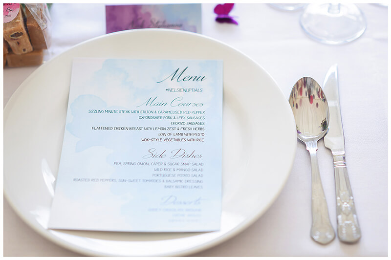 wedding table place setting and menu