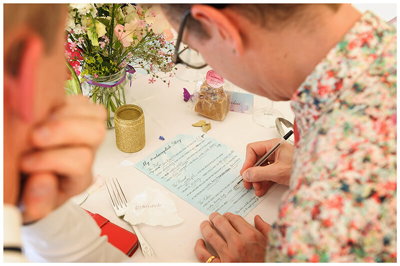 Oxfordshire friars Court Wedding guy in flowery shirt filling in quiz sheet