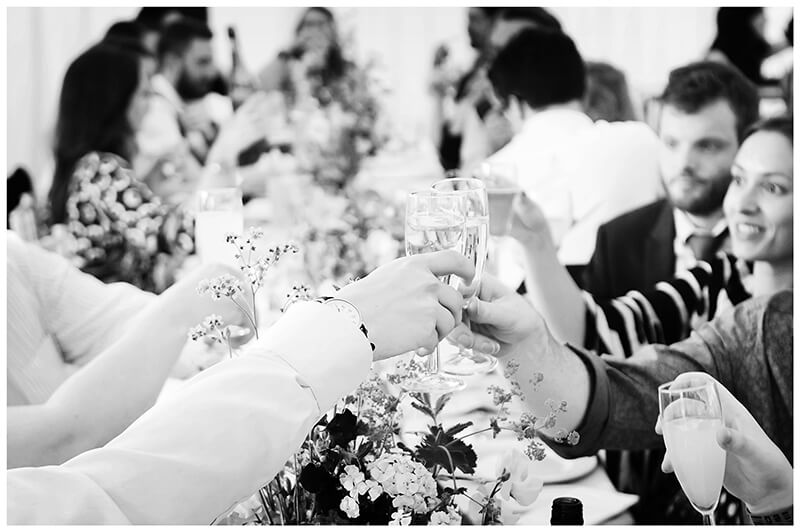 Wedding guests cheers clinking glasses together