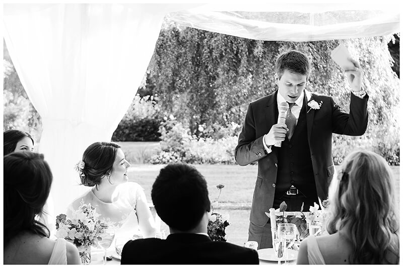 grooms speech during Oxfordshire friars Court Wedding