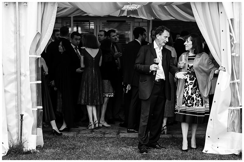 Wedding couple in conversation