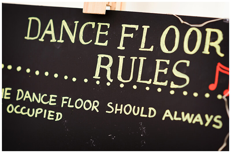dance floor rules chalk board