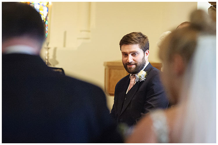Royal Chapel Windsor Great Park groom watches bride walk down aisle