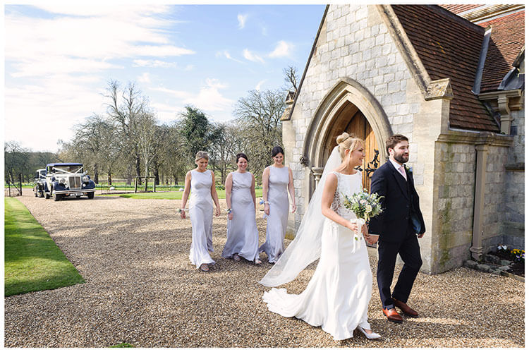 Royal Chapel Windsor Great Park bride groom followed by bridesmaids