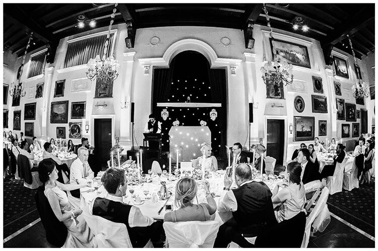 Wentworth Club Surrey dining room during grooms speech
