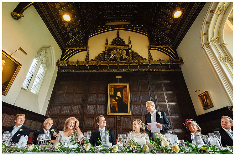 Best Wedding Photography of 2017 Father of the brides speech in the grand hall of Johns College Cambridge