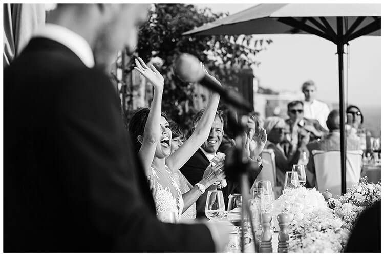 Best Wedding Photography of 2017 bride gives a big cheer during grooms speech