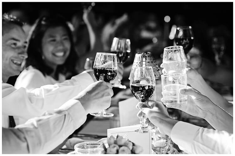 """Best Wedding Photography of 2017 cheers glasses being """"clinked"""""""