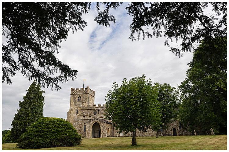 Cambridgeshire village wedding Crishall Church