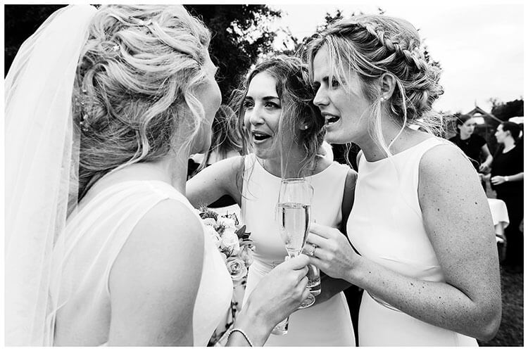 Bridesmaids and bride at Crishall Cambridgeshire Village wedding