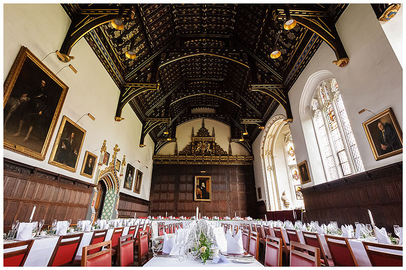 Main Hall St Johns College Cambridge set out for a wedding breakfast