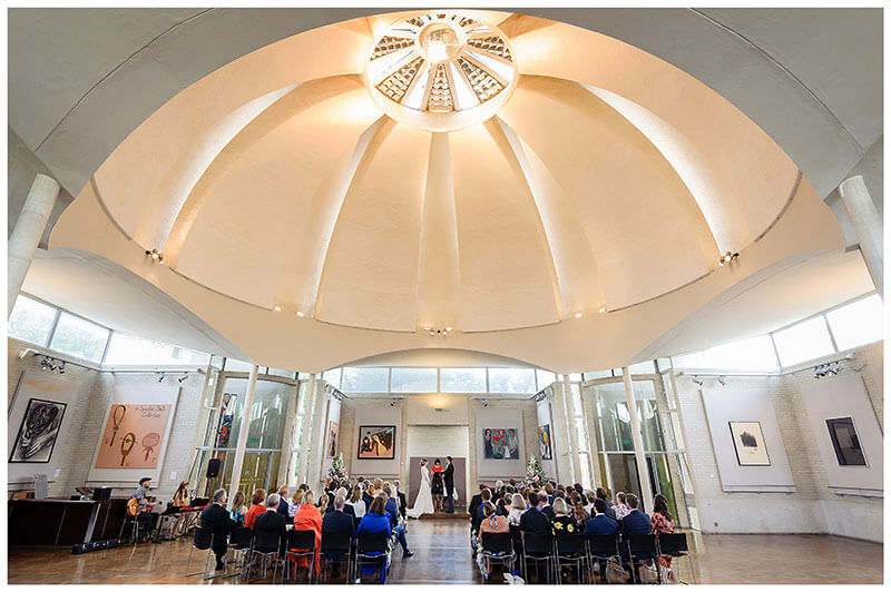 Domed ceiling at Murray Edwards College Cambridge during humanist wedding ceremony