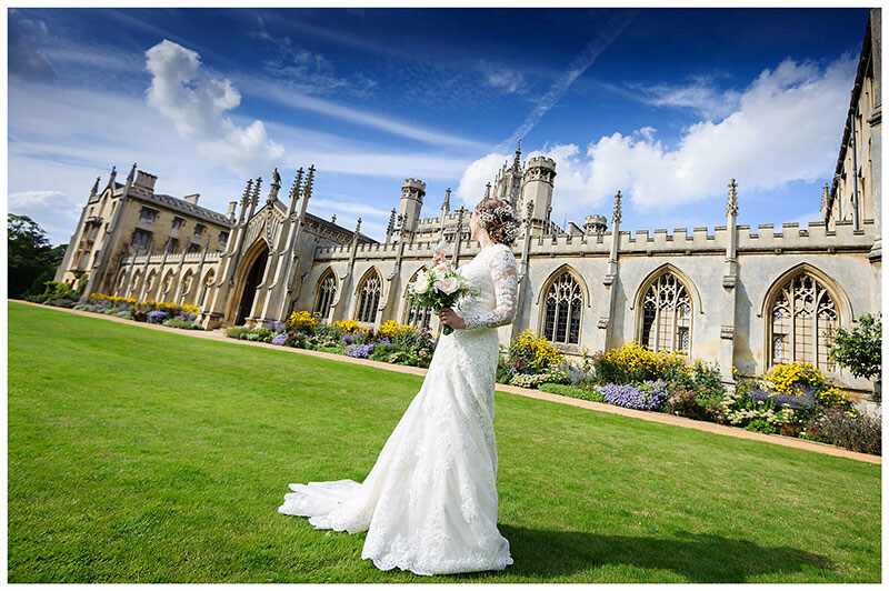 bride set against a backdrop of St Johns College Cambridge and a beautiful blue sky
