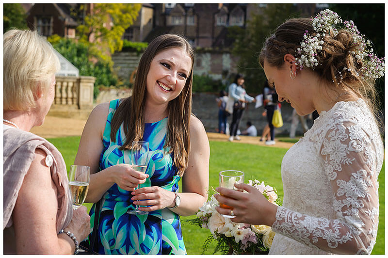 smiles for the bride at St Johns College Cambridge