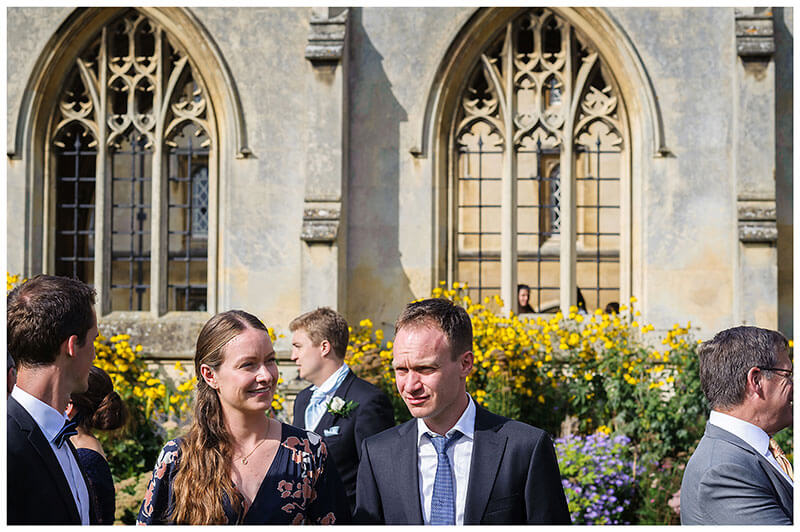 wedding guests in St Johns College Cambridge