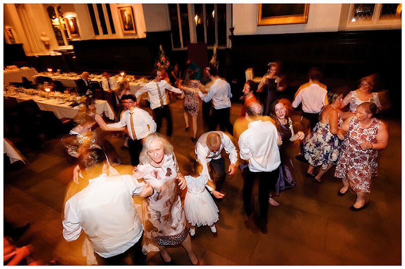 energetic kayleigh dancing during St Johns College wedding reception
