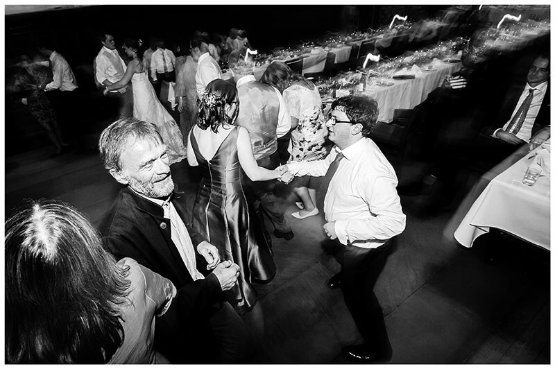 Active dancing during wedding reception