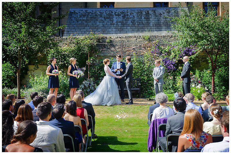 Queens College Wedding blessing ceremony in gardens